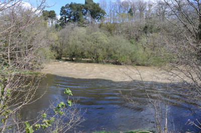 The Ithon / Wye junction with the Ithon in flood.